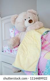 A very Big bear climbs into bed. good night!