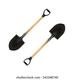 Very big image two parallel shovels with a handle on a white background.