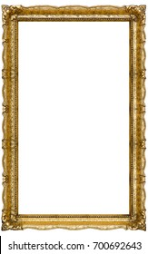 Very Big Old Gold picture frame, isolated on white - extra large file and quality - 90mpx