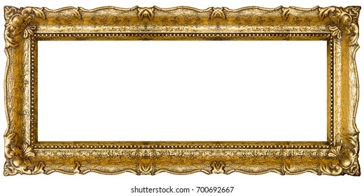 Very Big Old Gold picture frame, isolated on white - extra large file and quality - 40mpx