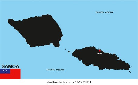very big size illustration samoa country map with flag