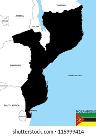 very big size mozambique country black map