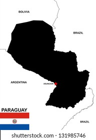 very big size paraguay black map with flag