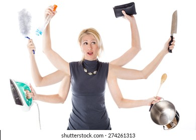 Very busy multitasking housewife on white background.  Concept of supermom and superwoman