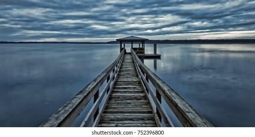 A very calm, overcast January evening on the Colleton River tidal estuary in Beaufort County near Hilton Head Island.