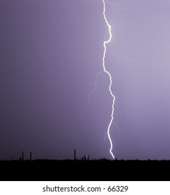 Very clear and unusual picture of a lightning bolt hitting a power line.