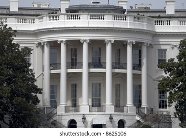 Very Close Up Angle On Oval Office Of White House