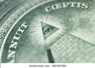 Very Close up the US 1 Dollar Bill