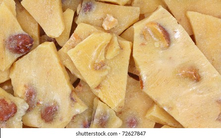 A very close view of peanut brittle candy.
