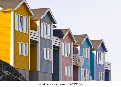 Very colorful and typical architecture in Nuuk, the capital of Greenland
