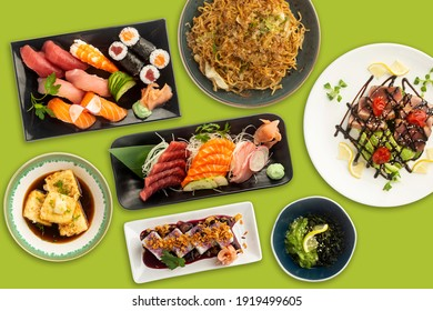 Very colorful and varied typical Japanese food viewed from above on a green background. Sushi, tofu, Tuna, Salmon.