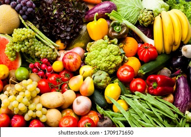 very colorful vegetables and fruits