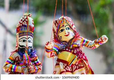Very colourful and vibrant rajasthani puppets in local place of rajasthan.