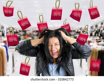 very crazy woman with rain bargain prices in the store