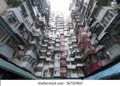 Very Crowded but colorful building group in Hong Kong