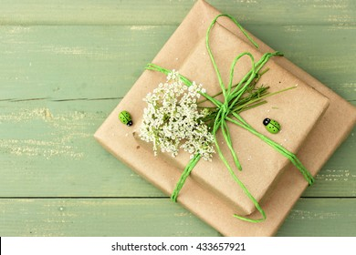 A very cute couple of gift boxes wrapped with simple drown craft paper and decorated with green jute, wooden ladybirds and small bunch of white wildflowers. Rustic decor. Concept for birthday