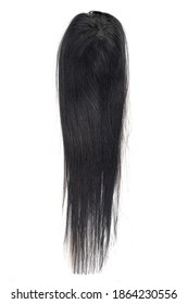 A very dark brown long straight wig or hair topper set against a white background.