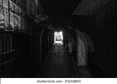 Very dark city alley
