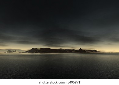 a very dark scene with a distant island and a thin light horizon