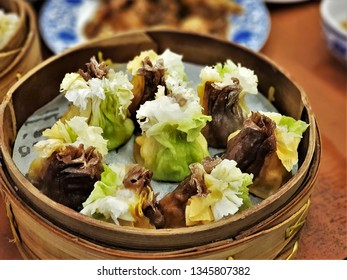 The very delicious Siomai (Shumai) in the restaurant. It is a type of traditional Chinese dumpling, it is usually served as a dim sum snack. It is popular foods in China and Southeast Asian countries.