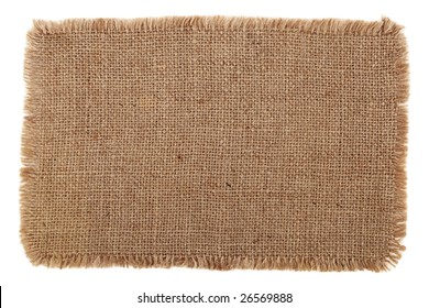 very detailed hi res photo of an old burlap canvas with lacerate edge, for backgrounds, textures and layers.