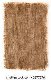 very detailed hi res photo of a burlap canvas isolated with lacerate edge, for backgrounds, textures and layers.