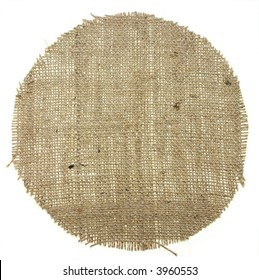 very detailed hi res photo of round shape burlap canvas with lacerate edge, for backgrounds, textures and layers.