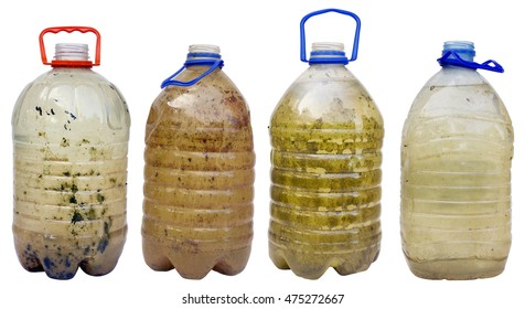 Very dirty dangerous water in plastic bottles isolated set