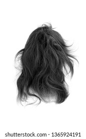 Very disheveled black hair isolated on white background. Bad hair day clipart. Back view