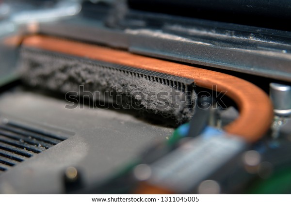 very dusty fan for the CPU of the laptop