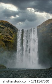 Very famous and dramatic waterfall Skogafoss in Iceland