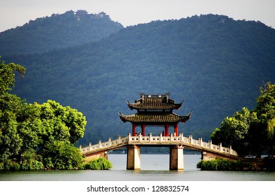 a very famous pavilion bridge-yu dai qiao (jade belt) - in west lake, hangzhou, china was built in song dynasty and rebuilt in qing dynasty