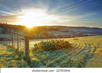 A very frosty sunrise over The Cotswolds, Painswick, Gloucestershire, United Kingdom
