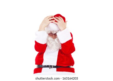 Very frustrated Santa Claus due to lot of work
