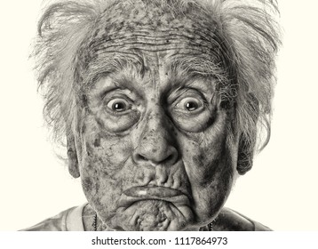 Very Fun Image of a Goofy acting Senior man doing Comedy