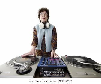 a very funky senior lady dj