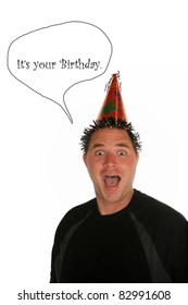 a very funny a young man celebrates a birthday, anniversary, holiday or any party at all. shot with a Fisheye lens for a fun distorted view. isolated on white with room for your text
