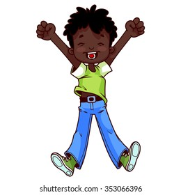 Very happy African American boy on a white background.