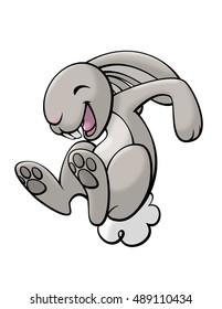 A very happy bunny caught in mid-hop.