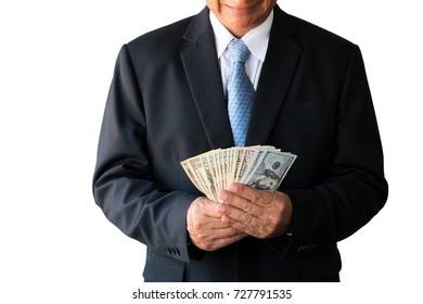 Very happy businessman with money in hand isolated on white background. (Success, freedom, financial prospects, career advancement)