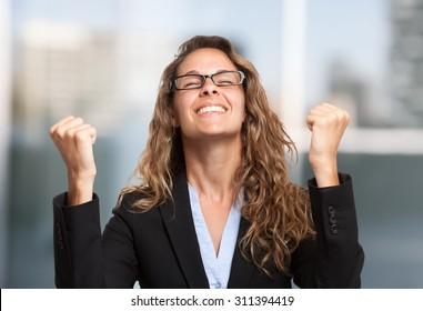 Very happy businesswoman portrait