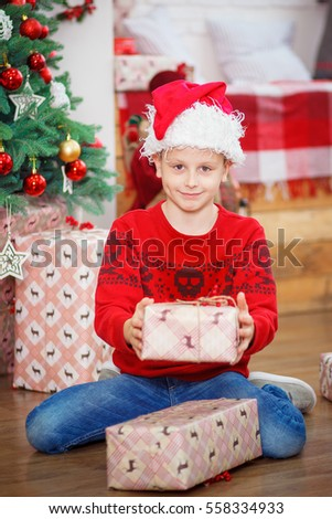 3117d0ba0 Very Happy Cute Boy Xmas Gifts Stock Photo (Edit Now) 558334933 ...