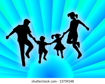A very happy family in the colorful sun-rays
