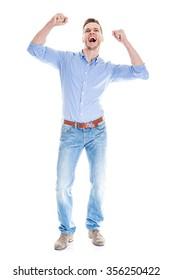 Very happy man isolated full body