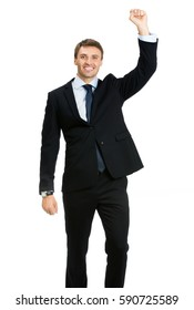 Very happy successful gesturing young businessman, isolated on white background. Business success concept.