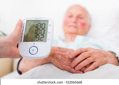 Very high blood pressure registered by nursing home geriatrician doctor.