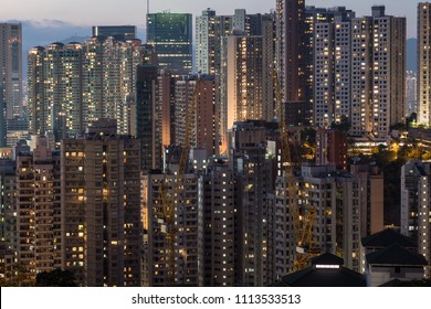 Very high density of apartment towers in the Happy Valley district of Hong Kong island at night in China SAR.