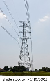 very high electricity tower with blue sky background