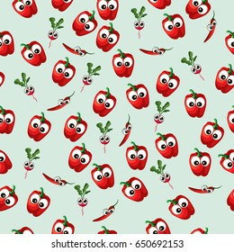 Very high quality original trendy  seamless pattern with red bell pepper and red radish