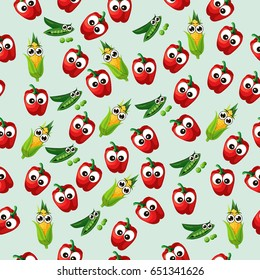 Very high quality original trendy  seamless pattern with green peas pods and red pepper, corn